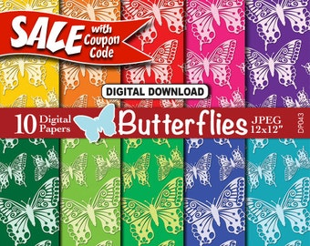 Butterfly Digital Paper Download | Butterflies in a Rainbow of Colors | Nature Pattern | Scrapbooking Background Paper DP043 bub3