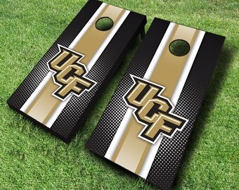 Officially Licensed Central Florida Knights Striped Cornhole Set with Bags - Bean Bag Toss - UCF Cornhole - Corn Toss - Corn hole