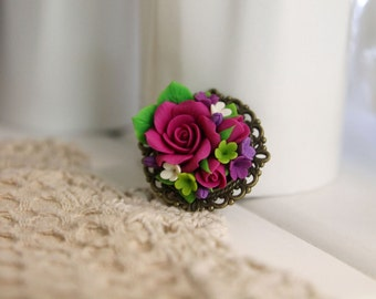 Floral brooch, handmade Flowers jewelry, polymer clay brooch, brooch, flower brooch, pink roses, polymer clay flowers, antique bronze
