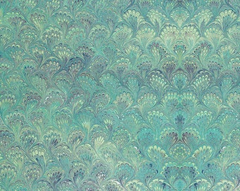 Rossi Handmade Green Peacock Marbled Decorative Paper