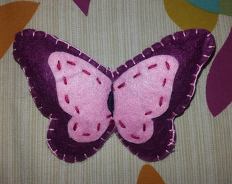 Cute handmade felt butterfly broach badge