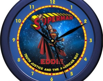 "Superman Comic Book Hero 10"" Wall Clock Personalized Boys Room Decor Wall Art Gift"