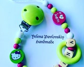 Baby girl pacifier clip Personalized Wooden Pacifier holder Hello Kitty Pacifier clip Newborn gift Christmas present for baby girl Baptism