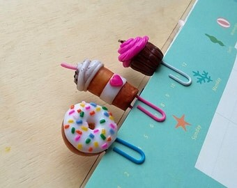 Set with 3 planner bookmarks, Donuts paper clip, capcake planner, coffee clip, bookmarks, set planner bookmarks, Paper Clip set, Paper Clip