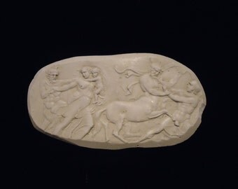 Rare old Mid-Century Artisan Plaster of Paris Oblong Wall Plaque Stencil Mold Tile Classic Roman/Greek Raised Design Mythical Gods in Battle
