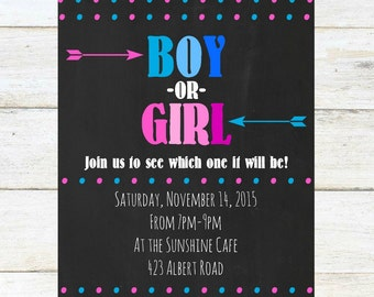 Gender Reveal Party Invitation, 4x6 printable, digital download