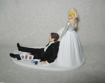 Wedding Reception Ceremony Party Gambler Dice Playing Cards Las Vegas Cake Topper