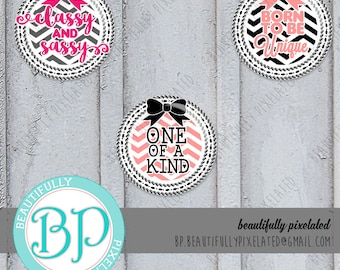 Girly Girl - Bottle Cap Images - Digital Collage Sheet - 1 Inch Circles for Bottlecaps, Hair Bows, Pendants - Instant Download