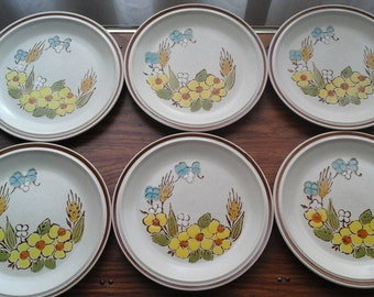 Springtime Bread / Salad / Dessert Plates by Floral Expressions, Hearthside Stoneware, 70s Hand Painted Raised Glaze Stoneware Plates