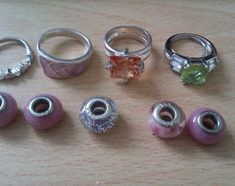 3 silver  925 rings 1 green stone & 5 silver 925 beads