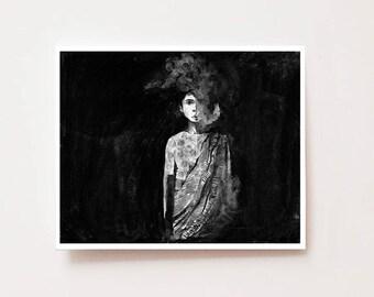 "Charcoal portrait art print, ""Daze"", Fine art Giclee print, charcoal drawing, Indian art, trendy wall art, nasty woman, mothers day gift"