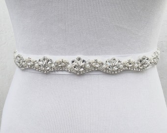 Bridal Sash, Bridal Belt, Wedding Sash, Wedding dress belt, Thin sash, Beaded Belt, Crystal Sash, Rhinestone Belt