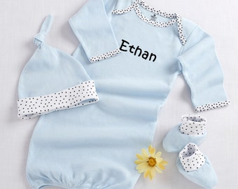 """Personalized """"Welcome Home Baby"""" 3-Piece Layette Set in Keepsake Gift Box (Blue), Boys' Clothing, Baby Shower Gift"""