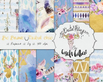Boho Digital Papers commercial use Tribal paper pack Chic gold and blue flower skulls