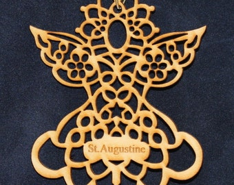 Angel (2) Ornament~Wood~Personalized FREE