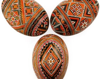 3 Real Blown Goose Ukrainian Easter Eggs Pysanky