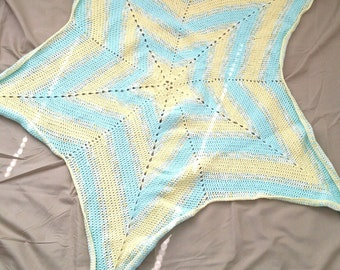 Twinkle Twinkle Little Star-Crochet Baby Blanket-Pastel Green-Pale Yellow