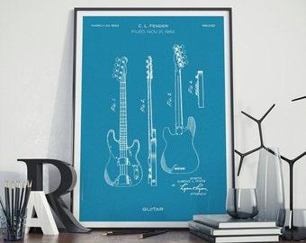 Fender Patented Electro Guitar Patent Art - Electric Guitar Patent Print - Guitars Patent