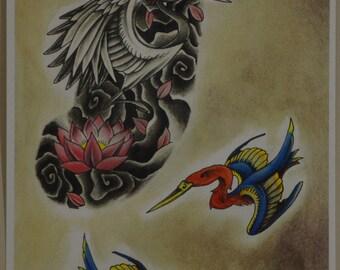 birds, original tattoo flash, original watercolor and ink art