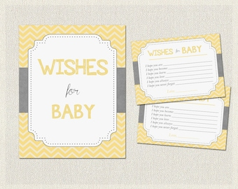 Wishes for Baby Yellow Gray Grey Yellow Gray Chevron Baby Shower Activities Gender Neutral BS-14