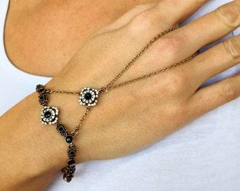 Slave Bracelet, Hand Finger Jewelry, Ottoman Style Jewelry, Antique Brass Slave Bracelet Ring, Bracelet, Chain Ring, Ring Bracelet