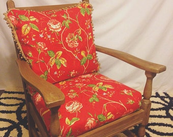 Floral Print Solid Wood Chair
