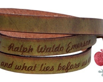 Leather Wrap Bracelet -- Ralph Waldo Emerson Quote