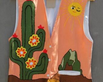 vintage 70s awesome desert scene embroidered vest