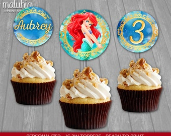 Little Mermaid Cupcake Toppers - Disney Little Mermaid 16 Custom Cupcake Toppers Birthday Party - Princess Ariel Party Decoration