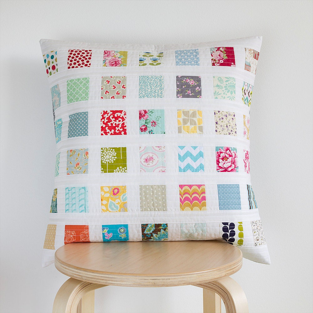 Quilted Decorative Pillow Covers : Quilted pillow cover 50cm x 50cm Throw pillow Handmade