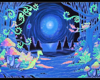 Psychedelic tapestry 'Space Jungle'. UV active trippy wall art, Trippy wall hanging, batik, shrooms, cosmic, space, art decor, blacklight