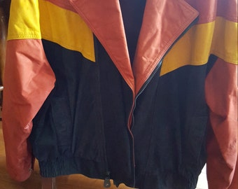 Leather 90s style jacket. Colors of the outback vintage leathers 1990 size large