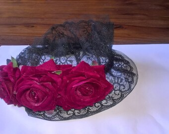 Gothic roses & lace hair band