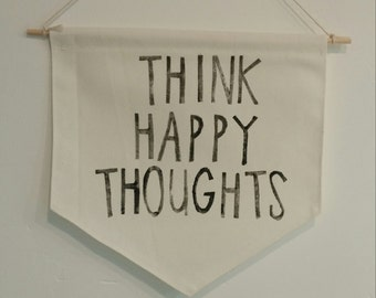 Hanging wall pendant - Stamped phrases | Think Happy Thoughts
