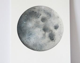 Watercolour Moon Print, Moon art, Space Art, Lunar art, moon painting, science drawing, watercolor painting, moon drawing, planets and moons