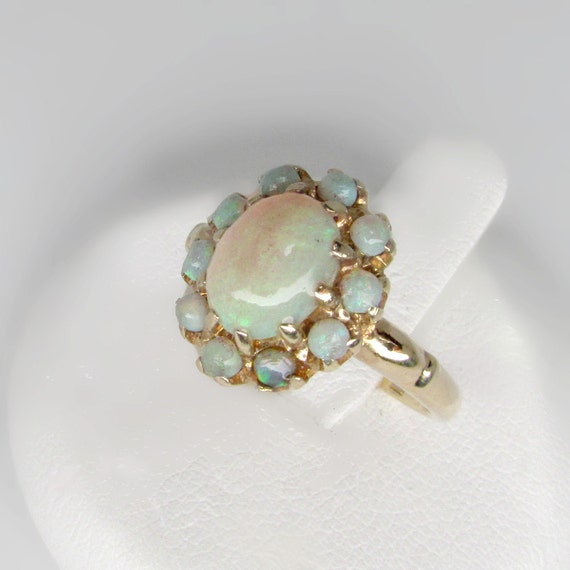 gold vintage opal ring genuine Australian opal ring size