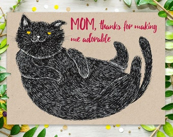 Printable Cat Mother's Day Card, Funny Cat greeting card, Instant Download Postcard, Funny Mother's Day Card