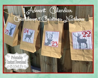 Printable Advent Calendar Numbers Countdown to Christmas Stickers or Tags Rustic Woodland Deer ~ DIY Instant Download ~ 25 3.5 x 3.5 Squares