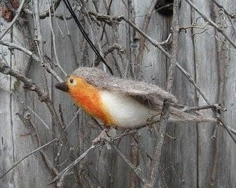 Merle merino wool felted ornament robin carded wool ornament