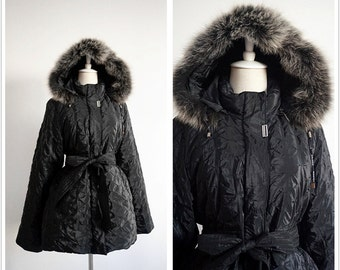 Pierre Balmain Paris Haute Couture Black Goose Down Coat. Vintage French Fox Fur Hooded Down Coat. Winter Womens Clothings . Free shipping