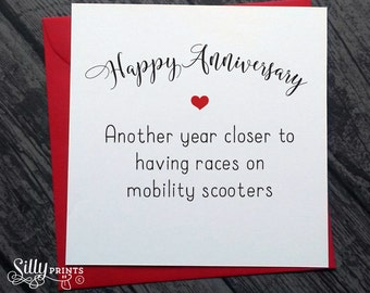FUNNY ANNIVERSARY CARDS, a15 racing mobility scooters, wedding anniversary card, love, cheeky,  for him, for her, for wife, for husband