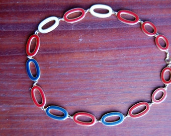 Red, Cream, and Blue Enamel Reversible Necklace