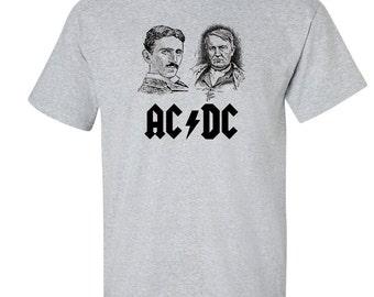 Men's AcDc Nikola Tesla Thomas Edison tee T-shirt Inventor Free Energy Men's Novelty SM Med LG XL 2XL 3XL 4XL 5XL