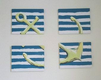 4 piece anchor wall art