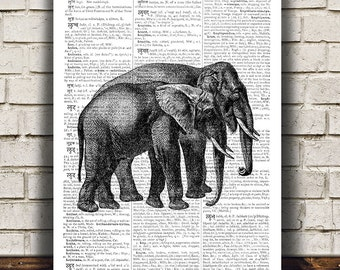 Elephant print Animal art Wildlife poster Dictionary print RTA440