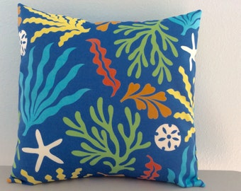 Beach Pillow Cover-Outdoor Pillow-Nautical Pillow-Tropical Pillow-Coastal Pillow-Lake Pillow-Beach Pillow-Coral Design Pillow