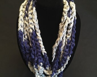 Navy and Gray Crocheted Rope Scarf
