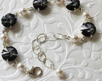 Swarovski Rivoli and pearl bracelet