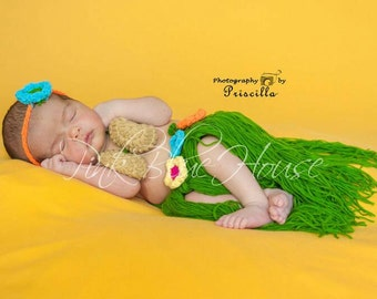 SALE!! Baby Hula Crochet Set! Photography prop set Hawaiian hula theme luau