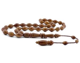 33 Count 8x11mm Kuka Wood Prayer Beads with Rings on the Tassel Tasbih Tesbih Rosary FREE SHIPPING